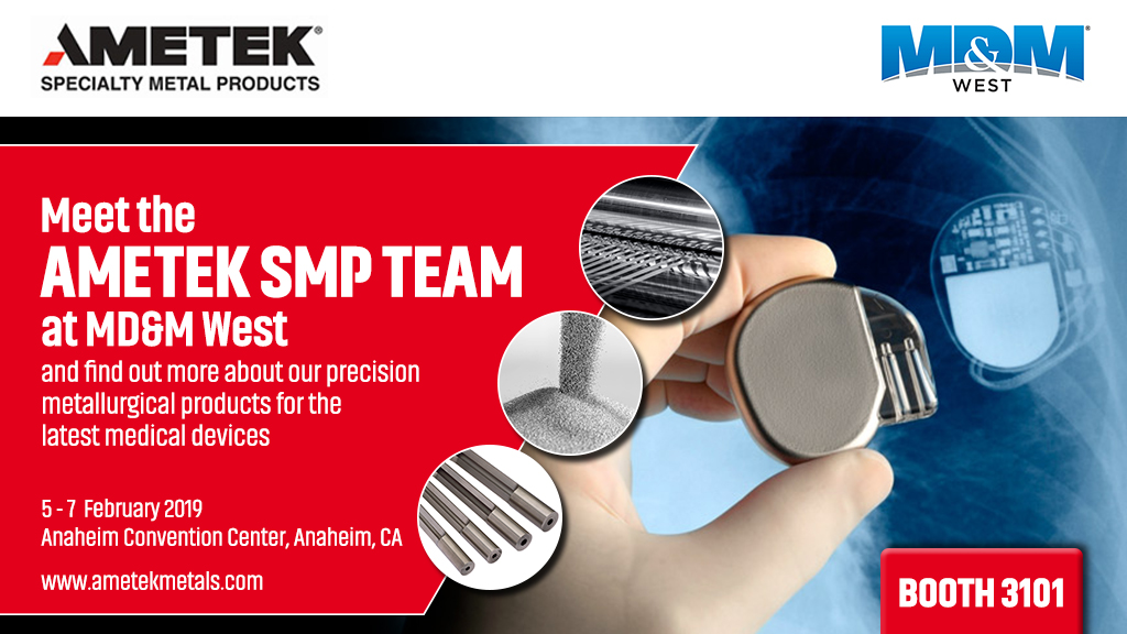 AMETEK SMP to exhibit at MD&M West 2019 in booth 3101